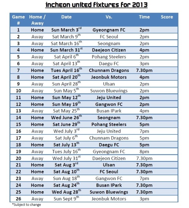 Incheon Fixtures 2013 English 1