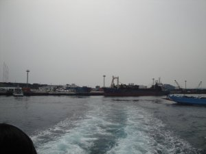 back of a ferry in Jeju