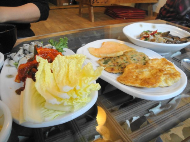 (from left to right) Fresh Osyters, Korean Pancakes 3 ways and Crab Soup