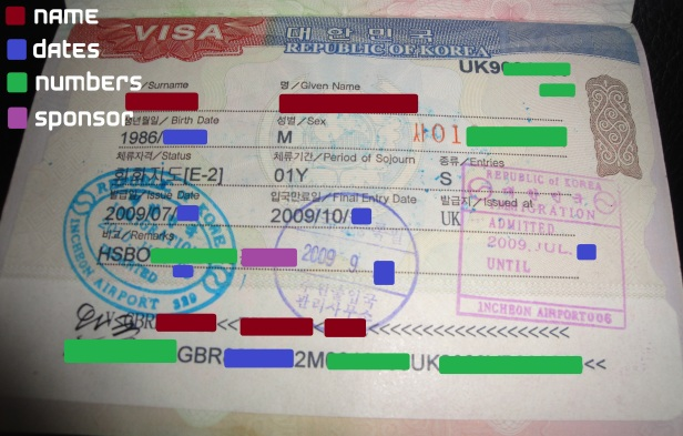 example Korean e2 visa
