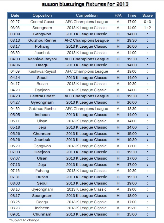 Suwon Bluewings 2013 Fixtures in English