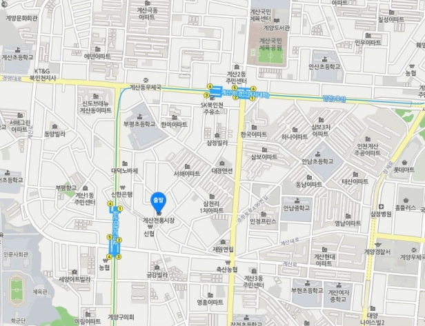 Gyesan Market Location Map