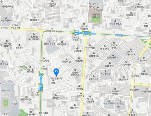 Gyesan Market Location Map