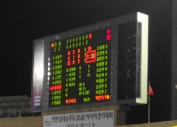 SK wyverns Hanhwa Eagles scoreboard - Munhak Stadium