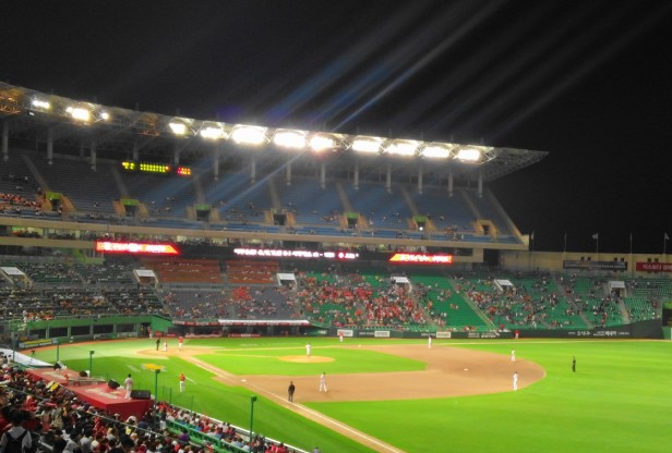 SK Wyverns Munhak Stadium at Night