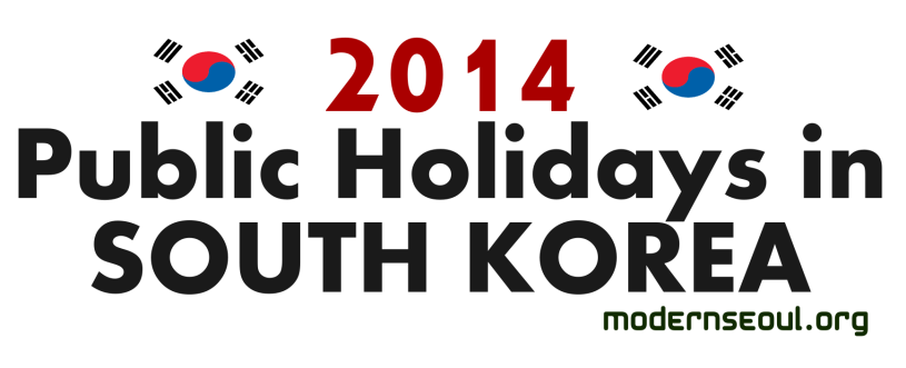 2014 Public Holidays in South Korea