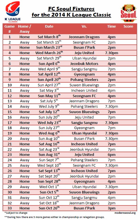 FC Seoul 2014 Fixtures in English