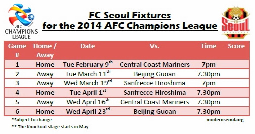 FC Seoul AFC Champions League 2014 Fixtures in English