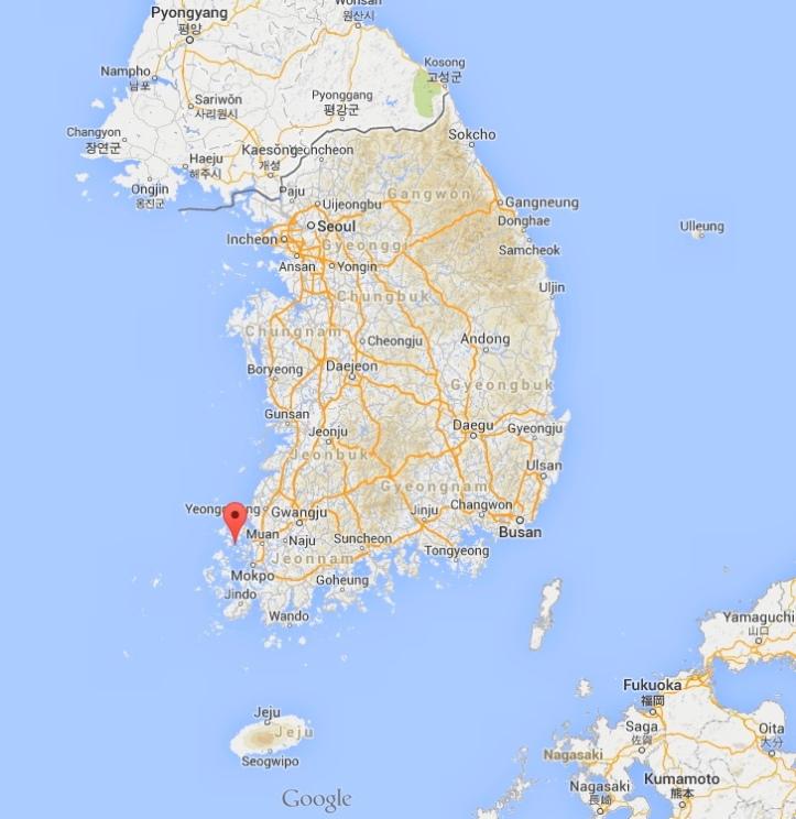 Byeongpeong Island Location Korea - Sewol Ferry