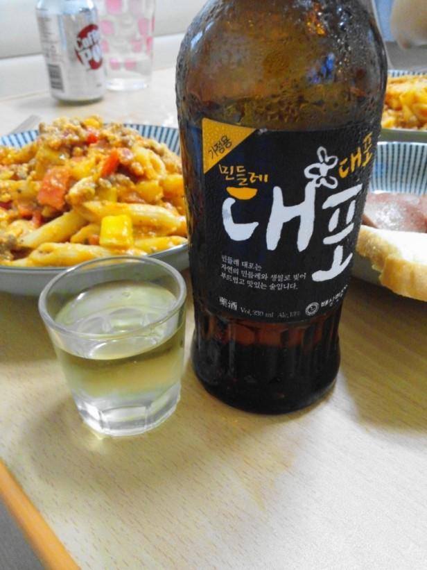 Dandelion Rice Soju - With Food