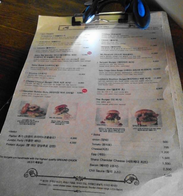 Smokey Saloon Hongdae Seoul - Menu