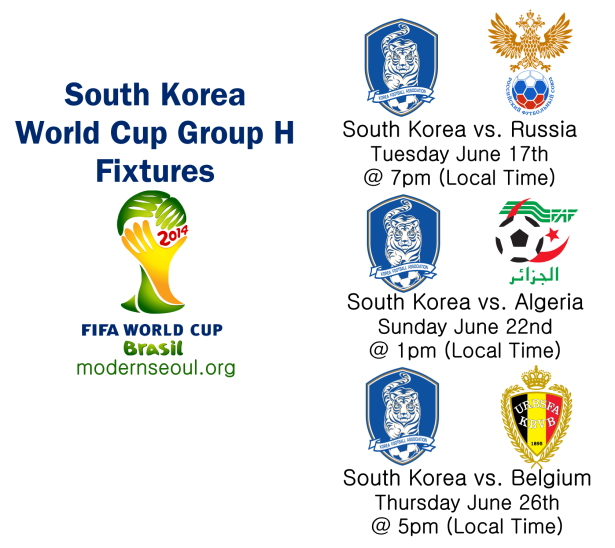South Korea World Cup Group H Fixtures