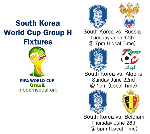 South Korea World Cup Group H Fixtures