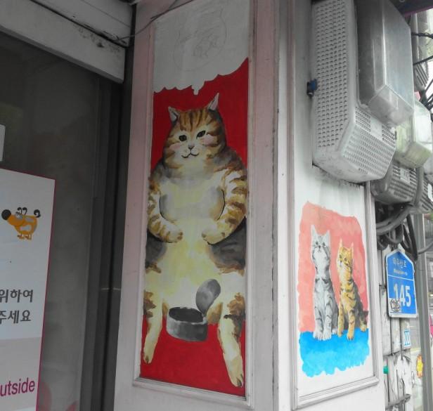 Fat Cat Painting Art in Hongdae Seoul