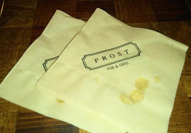 Prost Pub and Grill Itaewon Seoul napkin