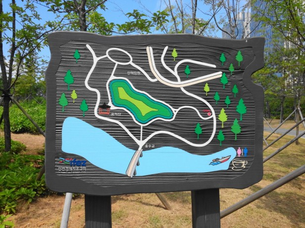 Songdo Central Park and Lake Incheon Wood Map