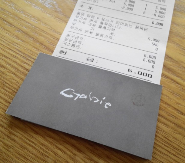 Grabie Coffee Hongdae Seoul Card