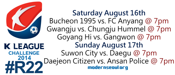 K League Challenge 2014 Round 22 August 16th