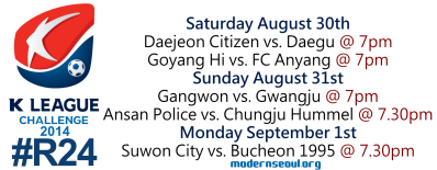 K League Challenge 2014 Round 24 August 30th