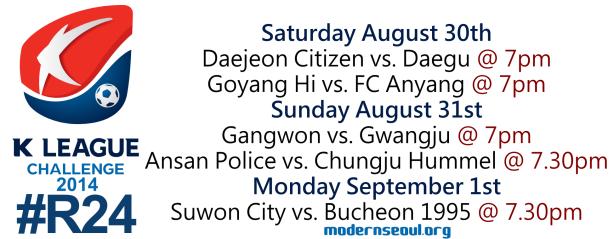 K League Challenge 2014 Round 24 August 30th