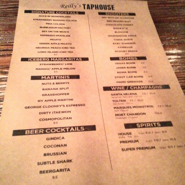 Reilly's Taphouse Itaewon Seoul Drinks Menu