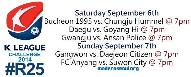 K League Challenge 2014 Round 25 September 6th