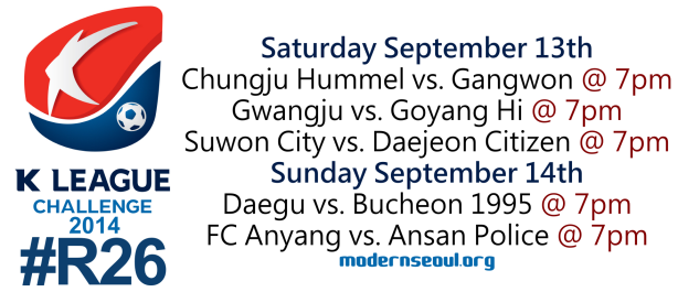 K League Challenge 2014 Round 26 September 13th