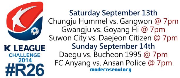 K League Challenge 2014 Round 26 September 13th