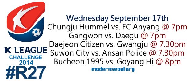 K League Challenge 2014 Round 27 September 17th