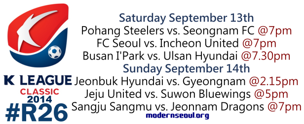 K League Classic 2014 Round 26 September 13th