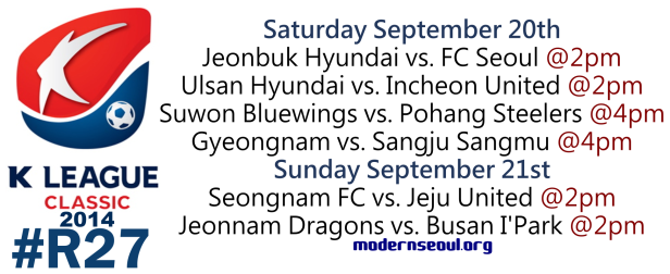 K League Classic 2014 Round 27 September 20th 1