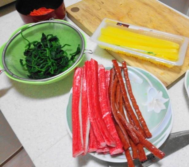 Making Kimbap Ingredients