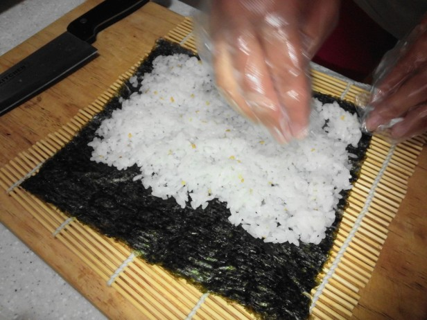 Making Kimbap Rice
