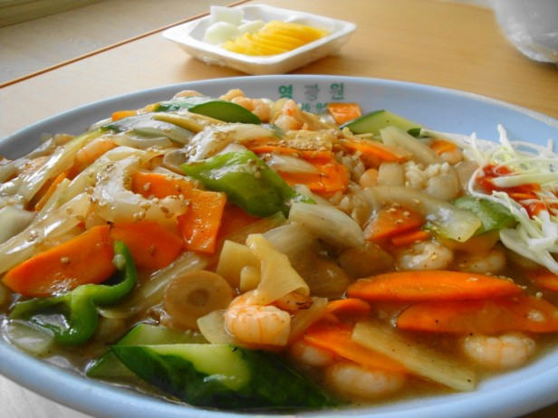 Chinese Delivery Food in South Korea Stir fry Seafood