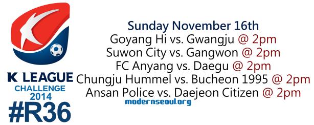 K League Challenge 2014 Round 36 November 16th