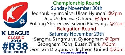 K League Classic 2014 Round 38 November 29th 30th
