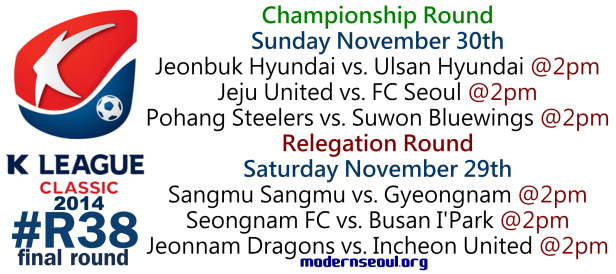 K League Classic 2014 Round 38 November 29th 30th
