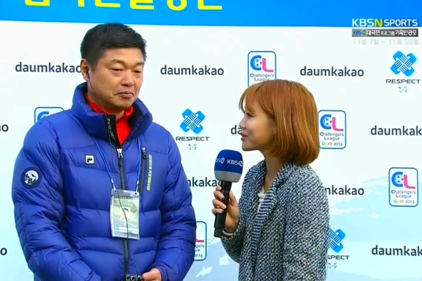 KBS Sports interviewing the Hwaseong Manager