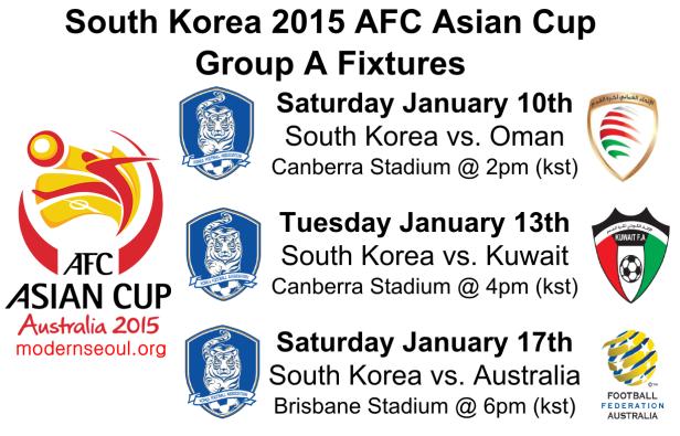 South Korea 2015 AFC Asian Cup Group A Fixtures