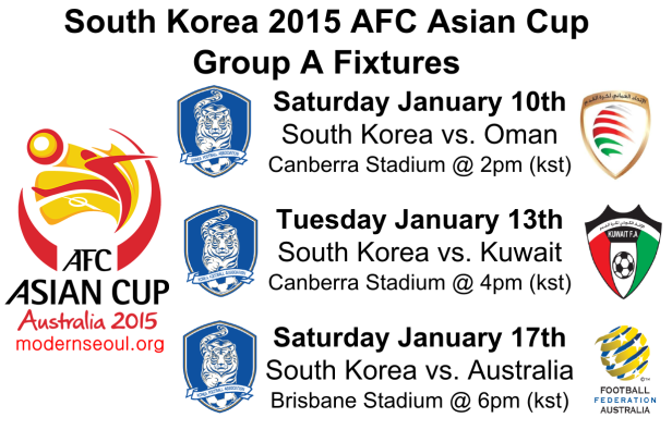 South Korea 2015 AFC Asian Cup Group A Fixtures