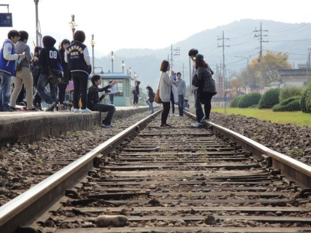 Gapyeong Train Station Korea - Standing on the Tracks