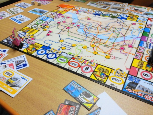 Korean Seoul Subway Monoploy Board Game in play