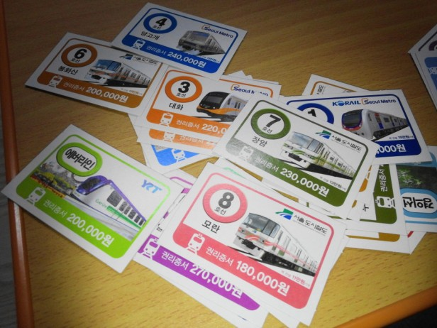 Korean Seoul Subway Monoploy Board Game station cards