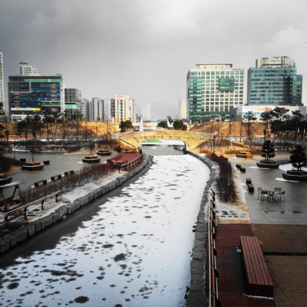 Cheongna Canal Park Incheon snow winter