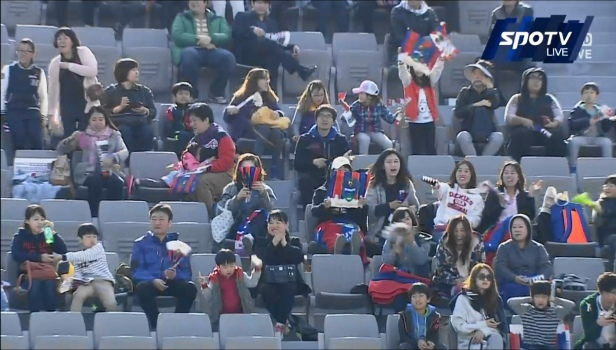 Suwon City FC fans enjoying their first win the of season.