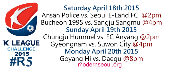 K League Challenge 2015 Round 5 April 18th 19th 20th