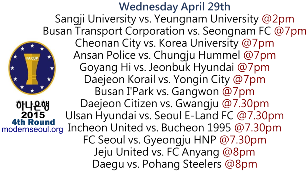 Korean FA Cup 2015 4th Round April 29th 1