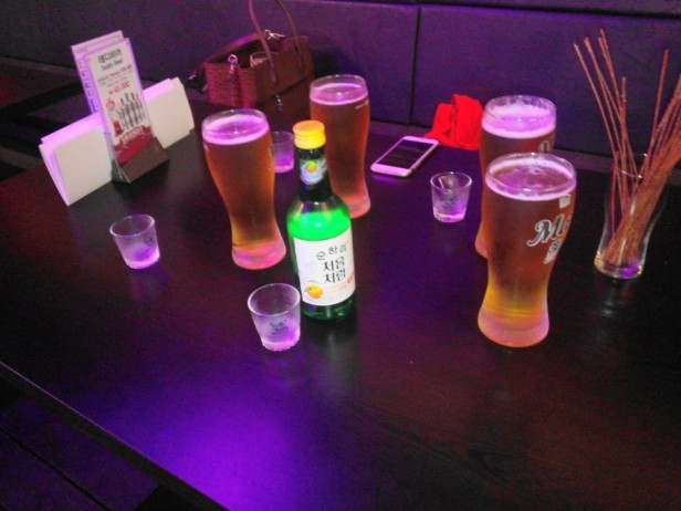 Citron Flavored Soju 2015 with beers