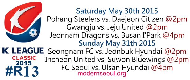 K League Classic 2015 Round 13 May 30th 31st