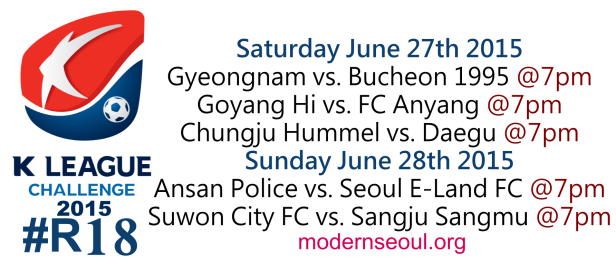 K League Challenge 2015 Round 18 June 27th 28th